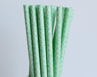 Mint Green Quatrefoil Paper Straws-Mint Green Straws-Damask Straws-Wedding Straws-Trellis Straw-Lace Pattern Straws-Moroccan Party Straws