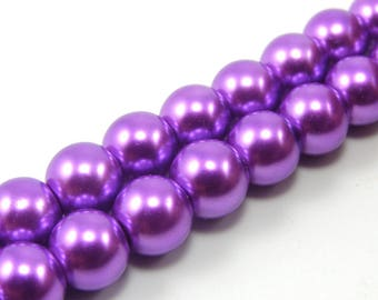 Set of 10 8 mm Pearly purple glass beads
