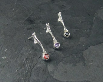 Sterling Silver Bone Studs with Stones