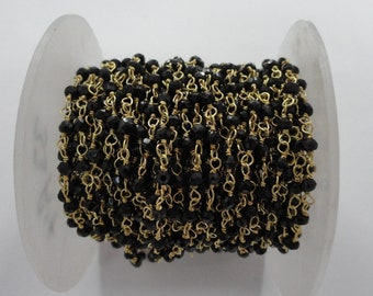 Black Spinel Rondelle Faceted Beads Rosary Chain, Black Spinel Gold Plated Rosary Chain, Handmade Black Spinel Faceted Chain