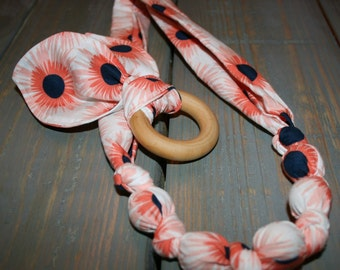 Organic teething necklace and bunny ear teething toy set