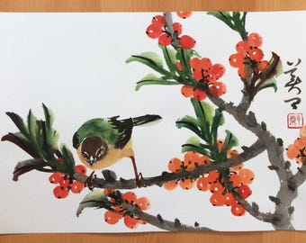 Original Chinese Painting-Fruit and Bird