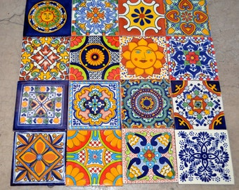 "16  Mexican Talavera Tiles handmade, Hand painted 4 ""X 4"""
