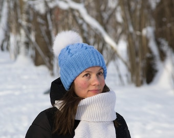 Ready! Blue wool beanie hat by Knity.me