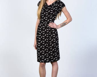 Olivia feather print dress in bamboo jersey