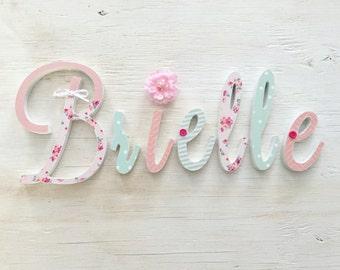 Baby Girl Nursery Decor Name Letters - Girls Bedroom Decor - Handmade Girls Wooden Letters - Mint Pink Nursery Room -  Price Per Letter