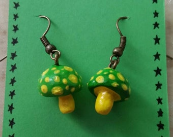 Green and Yellow Toadstool Earrings Cute and Quirky Girlie Gift Ideas