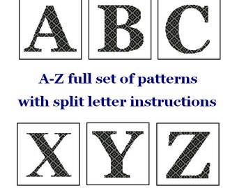 Monogram Cross Stitch A-Z alphabet set Letter cross stitch Pattern A to Z intial split letter cross Wedding Gift House Warming Anniversary