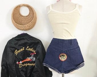 1970s - Hot Pants - Vintage Cut offs - Patched Denim - High waisted Shorts - High waisted Cut offs - Frayed Denim - Summer Shorts
