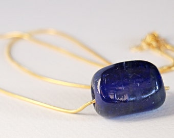 Ocean Blue Glass Brass Necklace