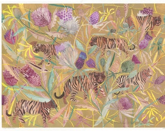 Tigers and Thistle-  Archival Print