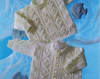 Baby Cabled Cardigan and Sweater collection vintage knitting pattern -Immediate download
