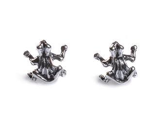 Henryka Small Silver Frog Stud Earrings