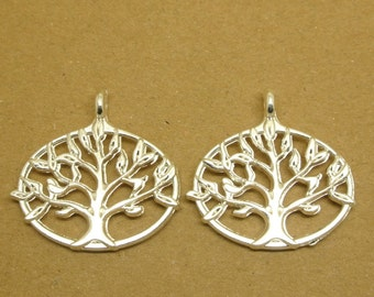 20pcs Double sided Silver Plating Tree of Life Charms Tree of Life Pendants