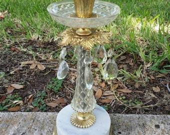 2DIE4!  Vintage Hollywood Regency Victorian Shabby Matson Stylebuilt Like Crystal Prism Metal Italian Marble Footed Candleholder
