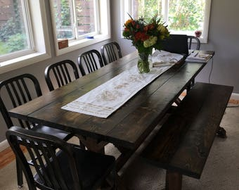 Rustic Farm Table, Farmhouse Table, Large Farm Table, Dark Farm Table,  Rustic