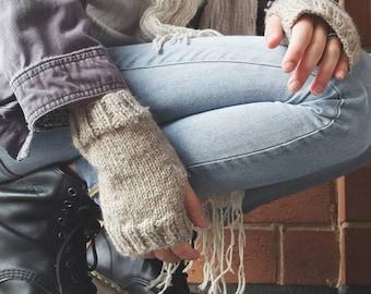 Knit Wool Fingerless Gloves // Oatmeal