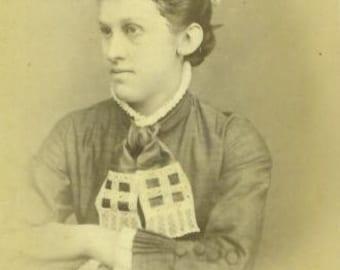 Senecaville Hiramsburg Ohio Woman Portrait Crochet Tie Dress Antique 1880s CDV Portrait Photograph Photo