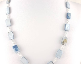 Cordelia (Blue Rectangular Shell Beads Necklace) | OOAK | Natural Bead Necklace