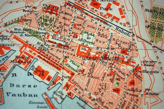 1898 Vintage Map of Toulon France Vintage City Map Old