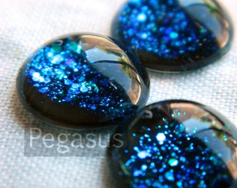 Nebula Blue Galaxy Glass round Cabochon Gem (3 Piece,6 size options) space jewel gem for wedding,cosplay,elven costume,steampunk jewelry