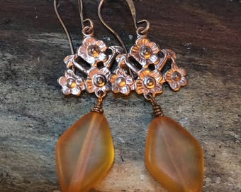 vintage copper findings with orange vintage lucite diamond shape beads earrings copper
