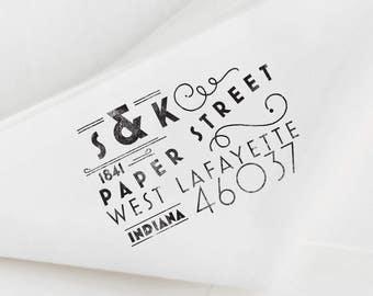 Art Deco Return Address Stamp Custom Stamp Custom Rubber Stamp Personalized Wedding Stamp Personalized Gift Housewarming Gift Vintage
