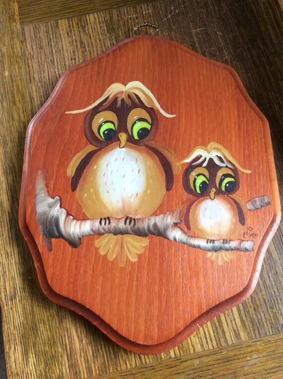 vintage owl decor, 1970's wooden owl plaque, retro owl decor, kitschy vintage owl decor, wooden vintage plaque, cute owl deco