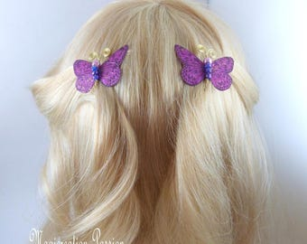 Butterfly clips anti-slip silk pink fuchsia body beads and gold metal antennas, Ombre, spring - Apolline - made in France