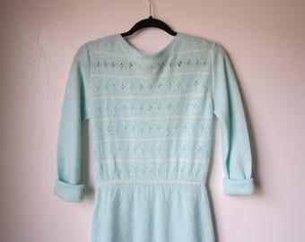 des années 80 en tricot robe Cool bleu pure Deja Vu BCBG taille moyenne