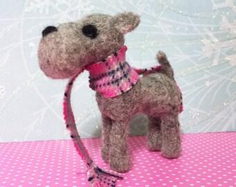 Scottie Hund gefilzte Ornament Figur grau Scottish Terrier mit Schal