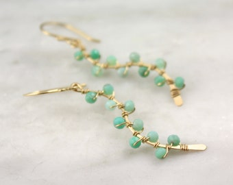 Bright Melon Chrysoprase Wrapped Gold Vine Earrings