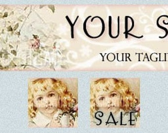 AGE OF INNOCENCE 1 ------ pre-made Etsy shop banner and two matching avatars SET