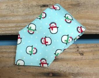 Baby Blue Chilly Penguin Necktie, Winter Necktie, Holiday Necktie, Scarf Necktie