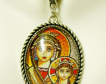 Madonna and child pendant and chain - AP09-278