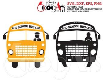 Back to School Bus Clip Art Vector Digital Cut Files SVG DXF Cuttable Download Vinyl Iron On Heat Press Transfer Silhouette Cricut JB-835