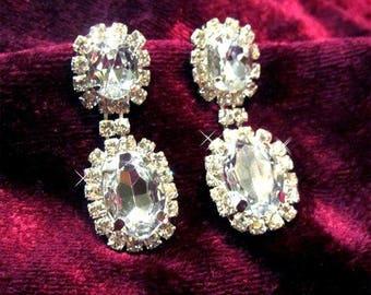 Bridesmaid earrings, Bridal jewelry, Bridal earrings, Wedding jewelry, crystal earrings, Vintage inspired wedding earrings
