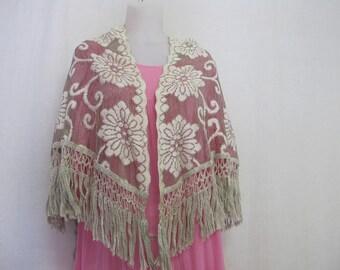 Lace Shawl Fringe Shawl Lace Wrap Boho Shawl Cotton