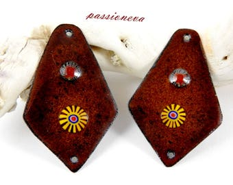 2plaques enameled copper charms for earrings - Brown - murine-
