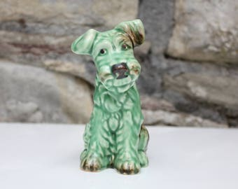 Vintage Sylvac Dog 1378 Green Terrier Figurine 13cm High