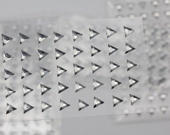 6mm Crystal Clear Stick On Triangle Rhinestones Gems For DIY Cards and Invitations  - 50 Pieces