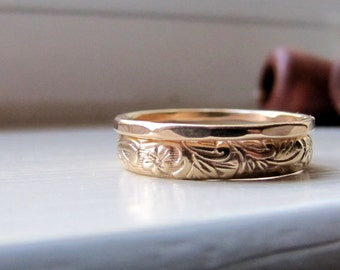14k Gold Stacking Wedding Rings