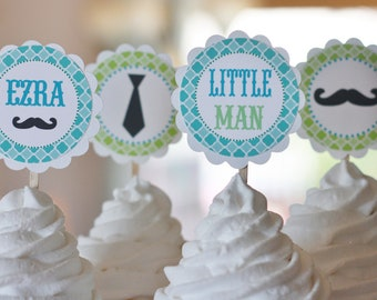 12 - Little Man Ties and Mustaches Theme Birthday OR Baby Shower Cupcake Toppers- Ask About our Party Pack Sale - Free Ship Over 65.00