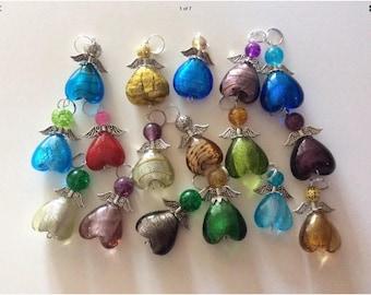 Set of 8 medium size glass angels