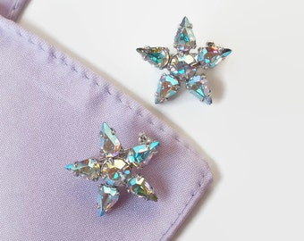 Rhinestone Scatter Pins Brooch Vintage Retro Star Small Clear Iridescent Costume Jewelry Pin