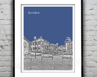 Herndon Skyline Poster Art Print Virginia VA Item T1369