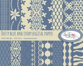 50%OFF Digital papers, dusty blue and ivory digital paper, digital scrapbook paper, patterned papers, P319