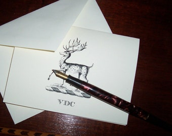Personalized Deer, Stag, Elk Monogrammed Note Cards Stationery set 10 Notecards Woodland Forest Mountain Lodge Cabin Chic for Him or Her