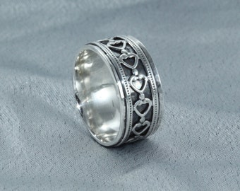 Ring With Hearts,Wide Rings, Sterling Silver Ring, Silver Rings,Woman Ring, Silver Hearts Ring, Love Silver Rings,  gift