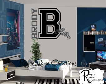Varsity Letter Decal with Personalized Name and Winged Cleat B25 Track Decal for Teen Boys Bedroom Sports Wall Decal- Sports Decor